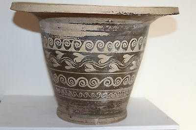 LARGE ANCIENT GREEK POTTERY KALATHOS 4th CENTURY BC WINE CUP