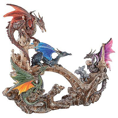 Dragon Wing Castle Statue Mythical Creature Medieval Gothic Decor Theme Artwork