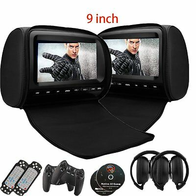 "2Pcs 9""Car Headrests Monitor Dual Screen DVD CD Player Monitor Game FM+Headphone"