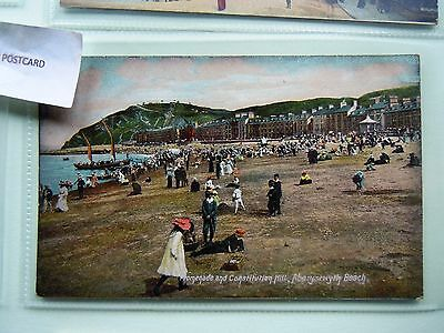 The Beach and Consiitution  Hill, ABERYSTWYTH, Cardiganshire - Wales postcard