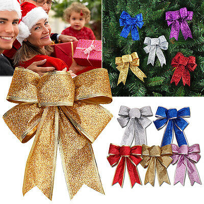 12Pcs Color Bow Christmas Tree Xmas Hanging Ornament Bowknot Party Decor