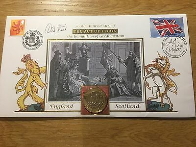2007 300th Annv. Act of Union £2 Buckingham Coin Cover Signed by David Steel