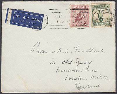 1936 Australia High Court Flap 6d + 1s Airmail to London, England