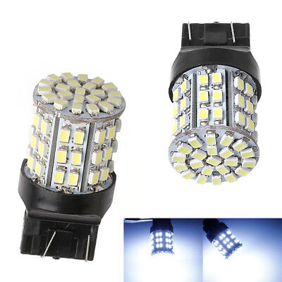 2X T20 W21W 7443 7440 LED 64-SMD 1206 Tail Stop Brake Light Bulb Lamp White