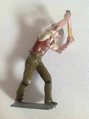 Vintage Britains / Charbens Lead Road Worker Navvy model / figure with Pickaxe