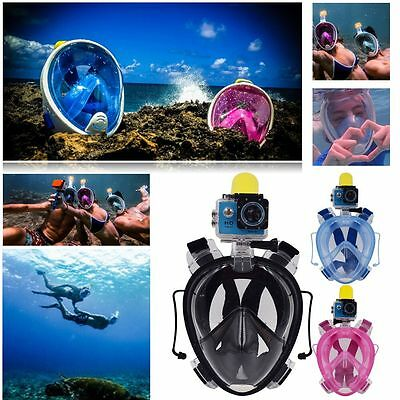 Swimming Full Face Mask Surface Underwater Diving Snorkel Scuba for GoPro S-XL