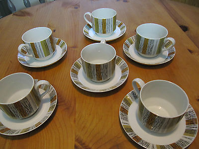 Midwinter Sienna Pattern by Jessie Tait,  1960s, 5 cups and Saucers