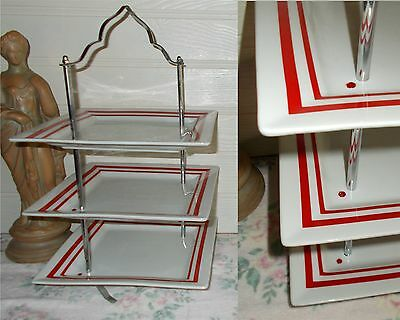 3 Tier  Pastry Cake Plate Stand Display  Red White  Square  Chrome Handle