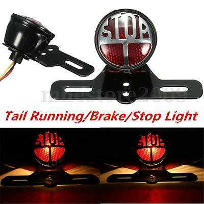 Support Plaque d'immatriculation Lampe Arrière Frein Stop Pour Harley Cafe Race