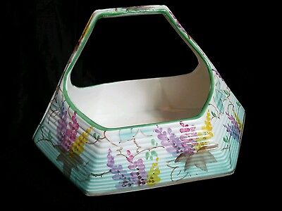 Fabulous Rare Beswick Art Deco Hand Painted Basket Vase
