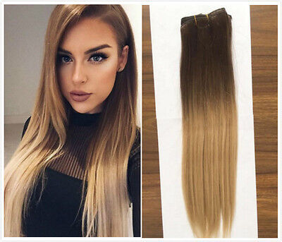 """18"""" Straight Wavy Ombre Real Human Hair Clip in Hair Extensions Hairpieces Gift"""