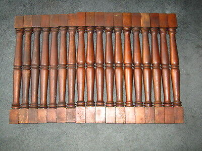 "18 Vintage 21 1/2"" Oak Wood Stair Staircase Porch Railings Balusters Spindles"
