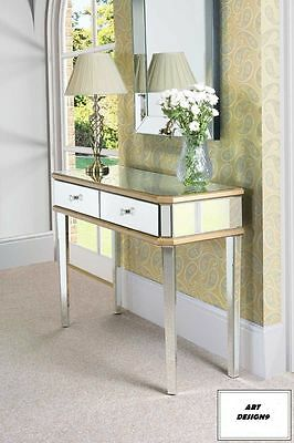Gold Mirrored Dressing Console-table  Two Drawers