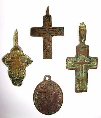 Ancient lot of 4 bronze Believer crosses Middle Ages. #024