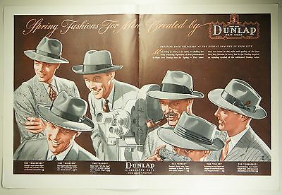 Vintage 1940 DUNLAP NEW YORK MEN'S HAT Large 2-Pg Magazine Print Ad