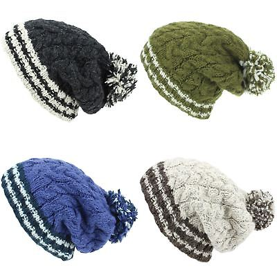 Chunky Wool Knit Beanie Bobble Hat Men Ladies Warm Winter Big Slouch Baggy Lined