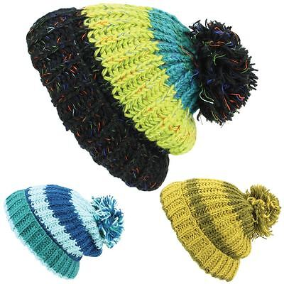 Chunky Wool Knit Beanie Bobble Hat Men Ladies Warm Winter Slouch Baggy Lined 6b0ca568b694
