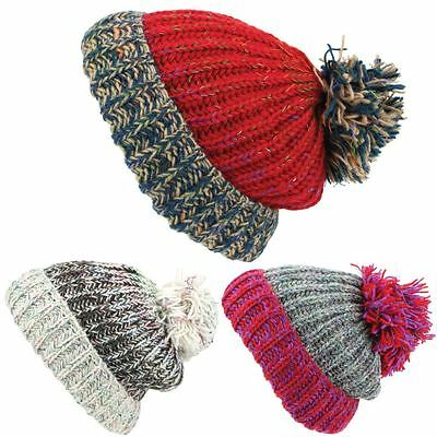 Chunky Wool Knit Beanie Bobble Hat Men Ladies Warm Winter Slouch Baggy Lined