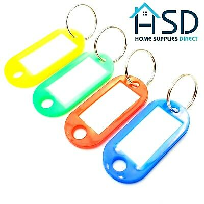 Key Ring Tags Plastic Assorted Colour Name Label ID Keys Tag Luggage Fob Rings