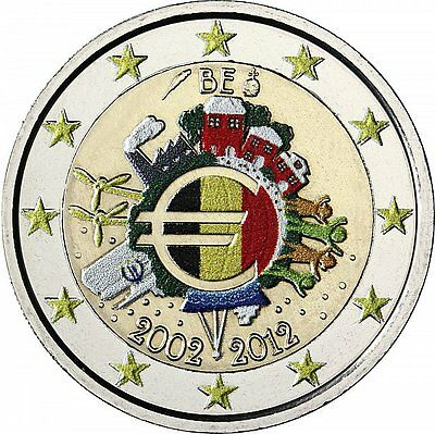 Belgien 2 Euro 2012 stgl. 10 Jahre Euro- Bargeld in Farbe