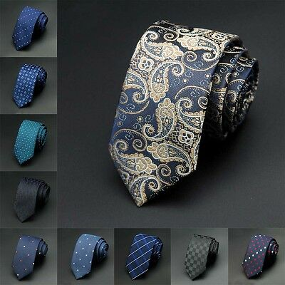 Men's 100%Silk New Fashion Skinny Slim Tie Party Jacquard Woven Necktie Narrow