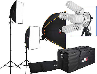 2800W Twin Softbox 10 Fluorescent Bulb Daylight Continuous Lighting & Padded Bag