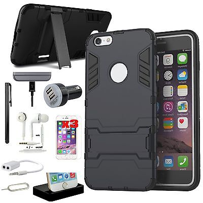 Black Kickstand Case Cover Dock Charger Accessory Bundle For iPhone 6 6S Plus