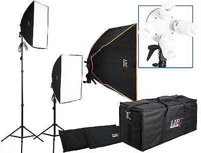 1200W Twin Softbox 8 Fluorescent Bulb Daylight Continuous Lighting Kit Bag Case