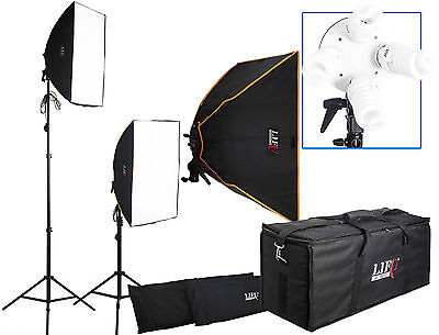 Photo Video Filming Continuous Lighting 2 Softbox Kit Daylight Bulbs Padded Case
