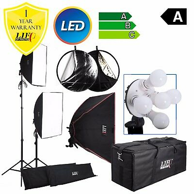 1800W Twin Softbox 10 LED Bulbs Daylight Lamp Continuous Lighting Kit Padded Bag
