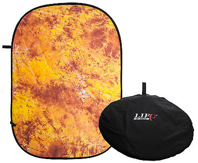 150x200cm Mottled Yellow & Orange Pattern Pop Up Background Collapsible Backdrop