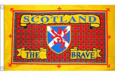 SCOTLAND THE BRAVE FLAG 5' x 3' Scottish St Andrews Cross Lion Rampant