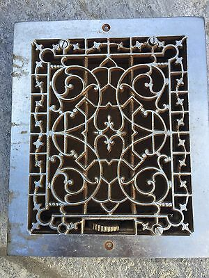Antique Used Decorative Ornate Metal Cast Iron Floor Heating Vent Grate Hardware