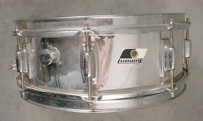 LUDWIG 5.5x14 BLACK/WHITE BADGE CHROME ON WOOD SNARE DRUM
