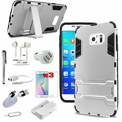 Sliver Kickstand Case Cover Charger Accessory For Samsung Galaxy S6 Edge+ Plus