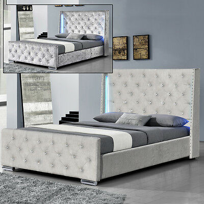 Silver Crushed Velvet / Grey Chenile Fabric LED Bed Frame Double / King Size