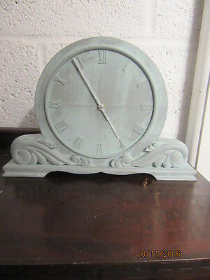 "Upcycled Shabby Chic Quartz Clock In Working Order 13.5"" x 9"""