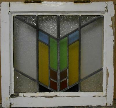 """OLD ENGLISH LEADED STAINED GLASS WINDOW Nice Geometric Design 18.25"""" x 17"""""""