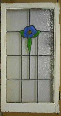 """LARGE OLD ENGLISH LEADED STAINED GLASS WINDOW Sweet Floral 20.5"""" x 38.25"""""""