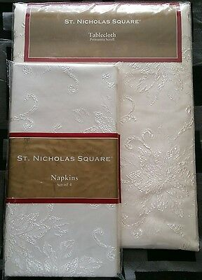 "St. Nicholas Square Tablecloth & 4 Napkins Poinsettia scroll round 70"" Ivory NEW"