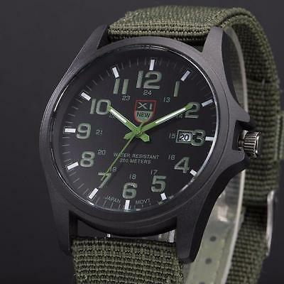 Men's Outdoor Military Date Watch Canvas Band Analog Quartz Sports Wrist Watches