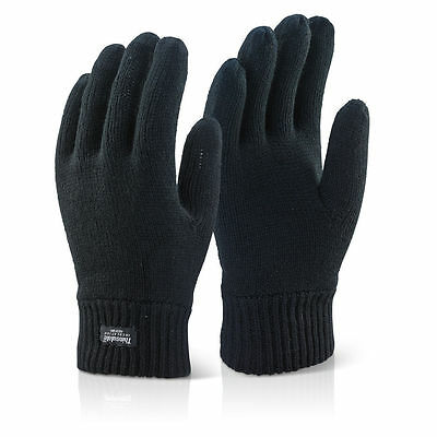 unisex THERMAL THINSULATE KNITTED FULL FINGER GLOVES WINTER WARM WOOLLY MITTS