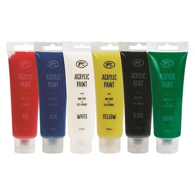 6 x 120ml Acrylic Paints Assorted Primary Colours Non-Toxic - FAST DISPATCH!!