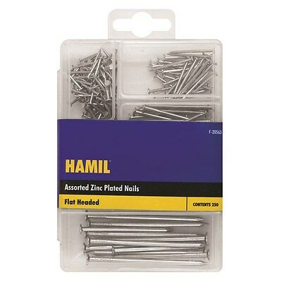250 Piece Assorted Nail Pack Zinc Plated Flat Head DIY Hammer Nails + Container