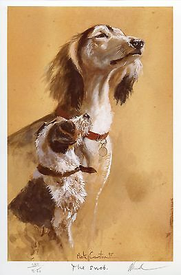 SALUKI JACK RUSSELL TERRIER DOG LIMITED EDITION PRINT - by the late Mick Cawston
