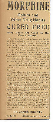 1904 Ad - Morphine & Opium Addiction Cure newspaper ad Mounted