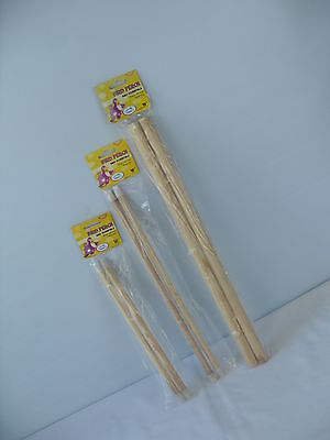 """Wooden Bird Canary Budgie Cockatiel Parrot Perch 2 Pack 12"""" - 16"""" & 19"""" inch"""