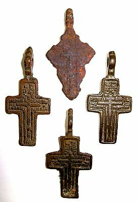 Ancient lot of 4 bronze Believer crosses Middle Ages. #027
