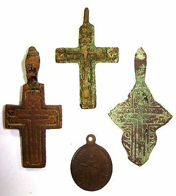 Ancient lot of 4 bronze Believer crosses Middle Ages. #028