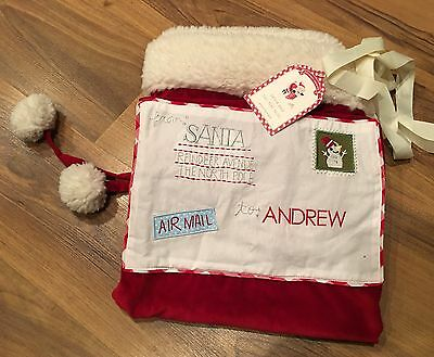 NEW Pottery Barn Kids Red Letters Santa Bag Holiday NWT no mono LARGE Andrew